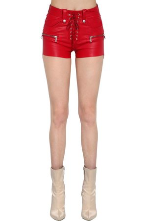 UNRAVEL Lace-up Stretch Leather Shorts