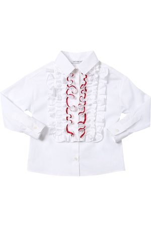 Dolce & Gabbana Girls Shirts - Stretch Cotton Blend Poplin Shirt