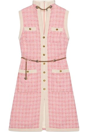 Gucci Women Shorts - Short tweed dress with chain belt