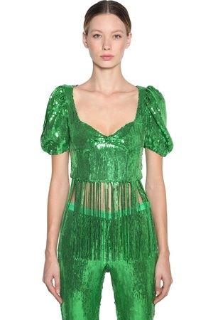 GIUSEPPE DI MORABITO Sequined & Fringed Crop Top