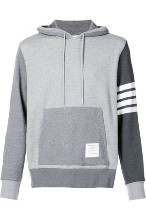 Thom Browne Hoodie Pullover With Tonal Fun Mix In Classic Loop Back With Engineered 4-Bar