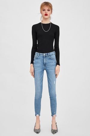 Zara Ripped vintage hi-rise jeggings with detailing