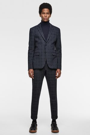 Zara 4-way check comfort knit suit blazer