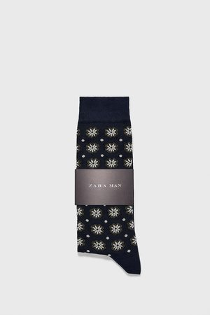 Zara Floral and polka dot print mercerised cotton socks