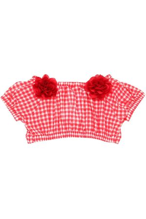 MONNALISA Gingham Printed Cotton Crop Top