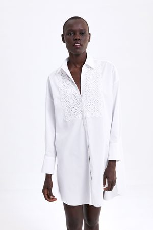 Zara Embroidered poplin tunic