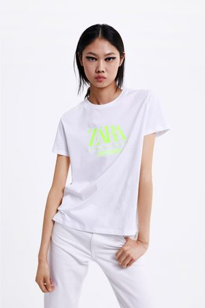 Zara T-shirt with neon embroidered logo