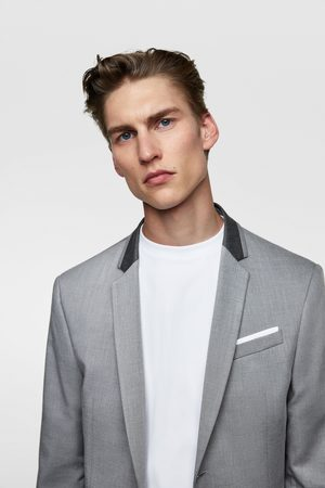 Zara Suit blazer with contrast collar