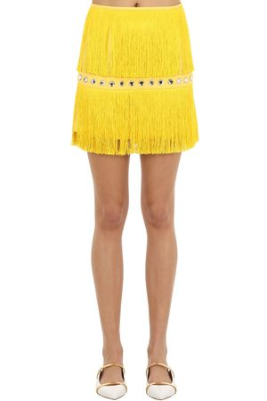 Sara Battaglia Women Mini Skirts - Embellished Mini Skirt W/ Fringes