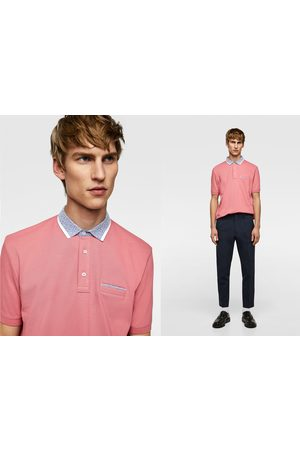 Zara Piqué polo shirt with contrast collar