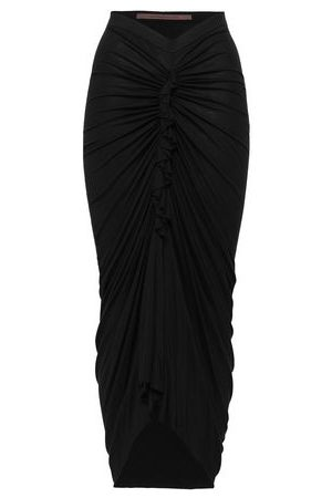 RICK OWENS LILIES Woman Ruched Split-front Jersey Midi Skirt Size 42