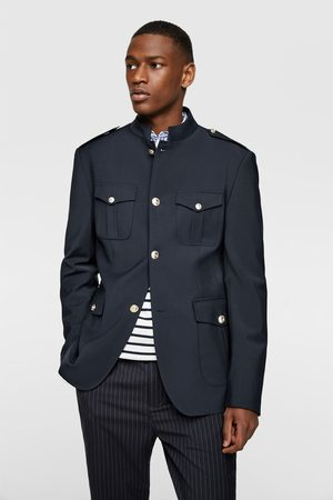 Zara Men Blazers - Buttoned blazer with stand-up collar