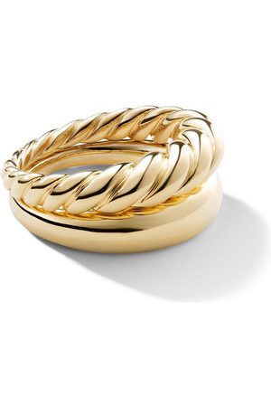 David Yurman 18kt yellow gold Pure Form stack rings