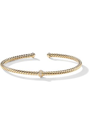 David Yurman 18kt yellow gold Renaissance Center Station diamond 3mm bracelet