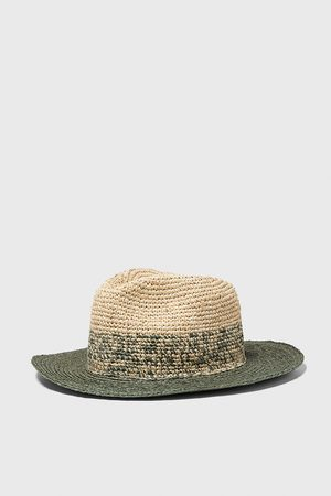 Zara Two-tone textured weave hat