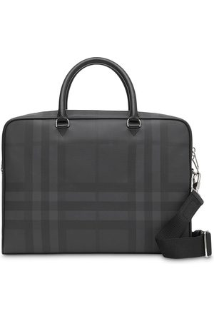 Burberry Men Laptop Bags - London Check and Leather Briefcase