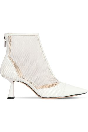 Jimmy choo Women Boots - 65mm Kix Mesh & Patent Leather Boots