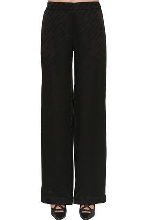 OFF-WHITE Wide Leg Jacquard Satin Pants