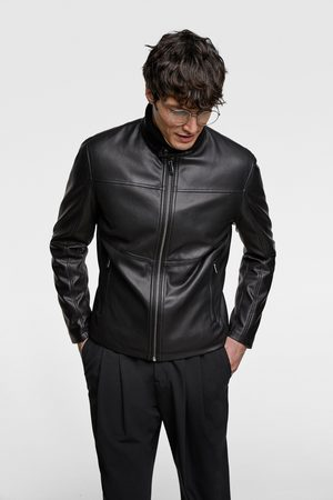 Zara PERFORATED FAUX LEATHER JACKET