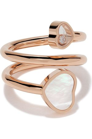 Chopard 18kt rose Happy Hearts diamond and mother-of-pearl twist ring