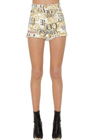 VERSACE Archive Print Destroyed Denim Shorts