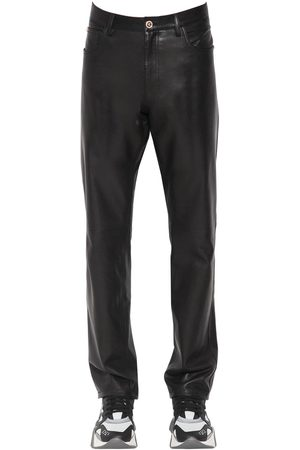 VERSACE 17cm Slim Fit Leather Pants