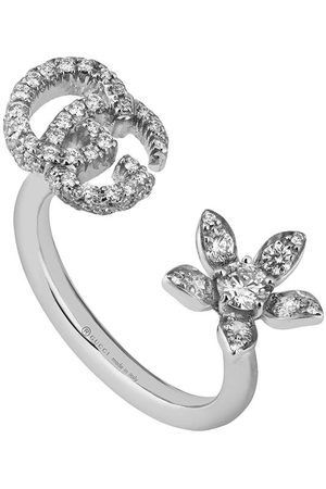 Gucci Ring with flower and Double G and diamonds