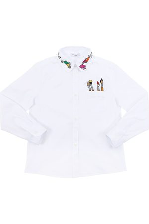 Dolce & Gabbana Embroidered Stretch Cotton Poplin Shirt