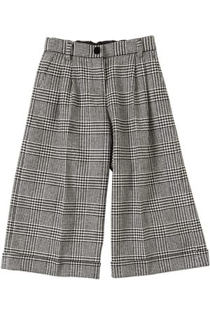 Dolce & Gabbana Wide Leg Wool Blend Houndstooth Pants