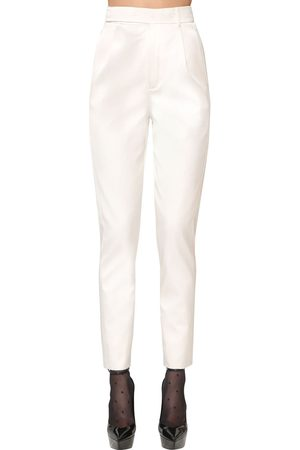 Saint Laurent High Waist Silk Blend Satin Pants