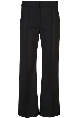 Derek Lam Cropped Flare Cotton Sateen Trouser with Pintuck Details