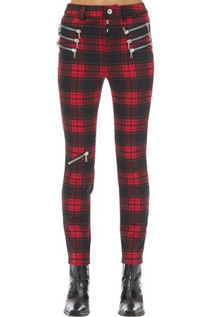 UNRAVEL Triple Zipped Plaid Skinny Pants