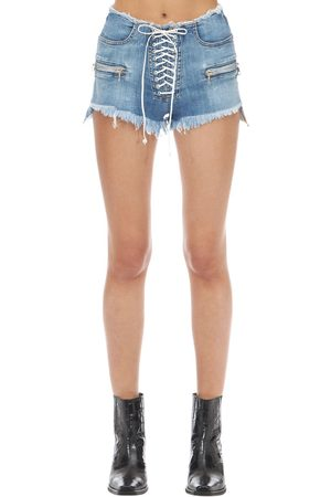 UNRAVEL Washed Cotton Denim Lace-up Shorts