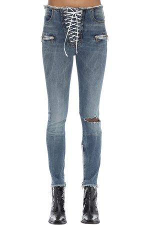 UNRAVEL Zipped Skinny Leg Cotton Denim Pants