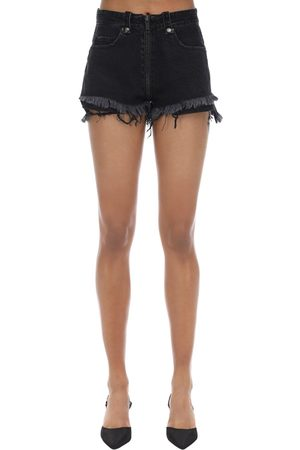 UNRAVEL Zip Up Cotton Denim Shorts