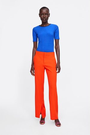 Zara Ribbed t-shirt with contrast neck