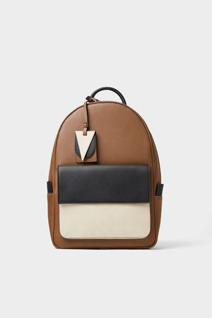 Zara Men Rucksacks - Three-tone backpack
