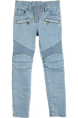 Balmain Stretch Cotton Biker Jeans