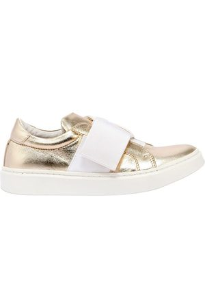 ANDREA MONTELPARE Metallic Leather Slip-on Sneakers
