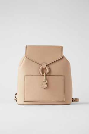 Zara Women Rucksacks - Backpack with ring detail and front flap