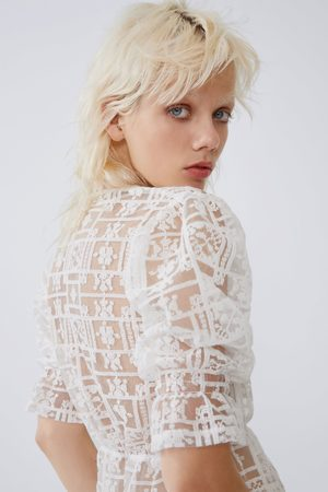 Zara Embroidered tulle t-shirt