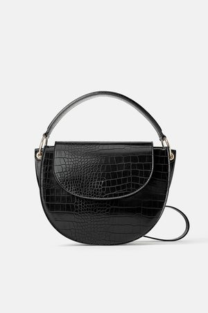Zara Women Shoulder Bags - Animal print oval crossbody bag
