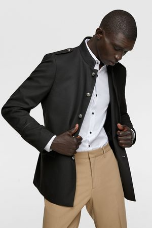 Zara Textured military-style jacket with trims