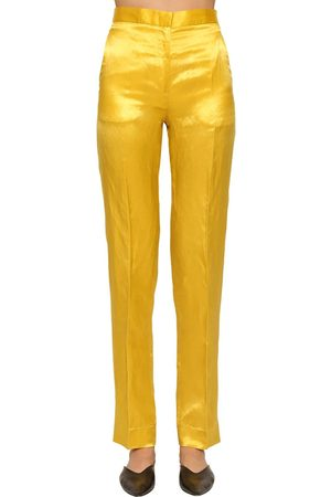 Jil Sander Women Slim Pants - Slim Straight Leg Shiny Viscose Pants