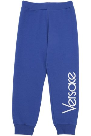 VERSACE Logo Embroidered Cotton Sweatpants