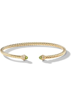 David Yurman 18kt yellow gold Cable Spira peridot and diamond 3mm cuff