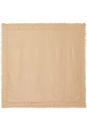 Burberry Monogram Silk Wool Jacquard Large Square Scarf