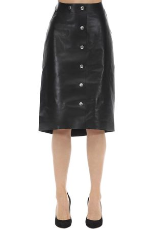 Victoria Beckham Women Leather Skirts - High Waisted Leather Midi Skirt