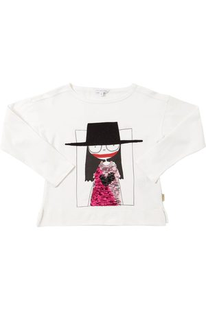 Marc Jacobs Girls Long Sleeve - Sequined Cotton Jersey T-shirt