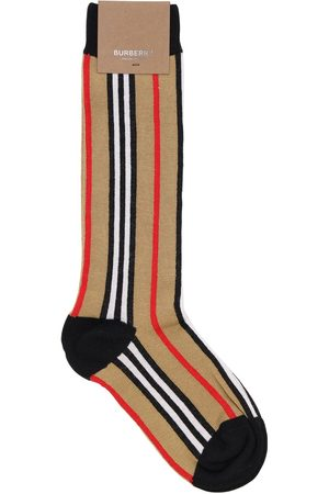 Burberry Icon Striped Cotton Blend Knit Socks